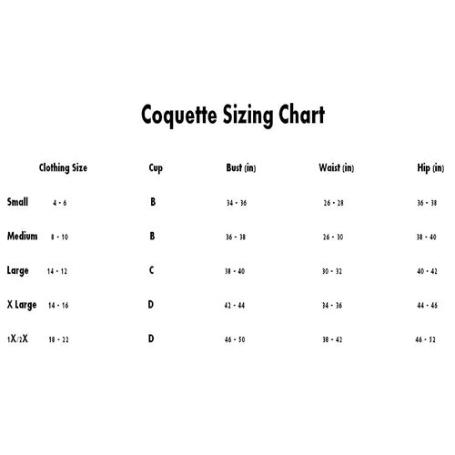 sizing CHART coquette