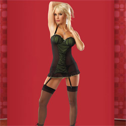 Gartered Chemise And Panty Set - Gathered mesh chemise set (L)