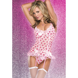 Bustier, Bustier And Panty Set - Heart print bustier and g-string (XL)