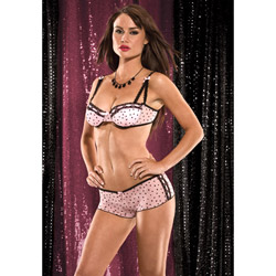 Bra And Panty Set - Heart mesh bra with tanga shorts (L)