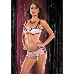 Bra And Panty Set - Heart mesh bra with tanga shorts (M)