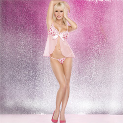 Babydoll And Panty Set - Heart print babydoll with g-string (S)