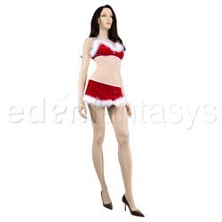 Bra, Panty And Skirt Set - Velvet bra and g-string