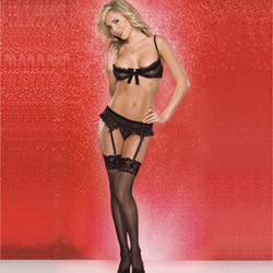 Bra, Panty And Garter Belt Set - Heart mesh bra and g-string set (S)