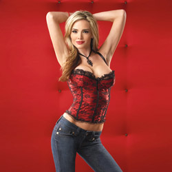 Bustier - Red satin and lace bustier (XL)