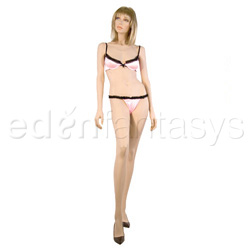 Bra And Panty Set - Lace trimmed demi cup bra set (M)