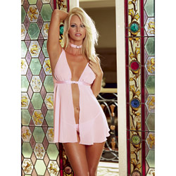 Babydoll And Panty Set - Fetish femme pink babydoll (1X/2X)