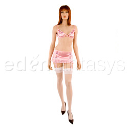 Bra, Panty, Gartered Skirt And Stockings Set - Satin bra and skirt set (M)