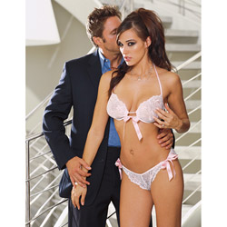 Bra And Panty Set - Lace halter bra with panty (S)