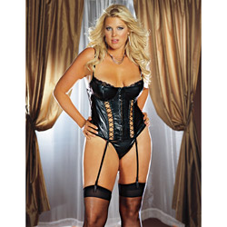 Bustier, Panty And Garters Set - Seductress faux leather bustier set (1X/2X)