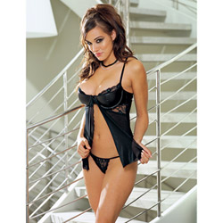Babydoll And Panty Set - Seductress faux leather babydoll set (M)