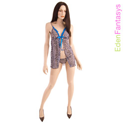 Babydoll And Panty Set - Leopard print babydoll with g-string (L)