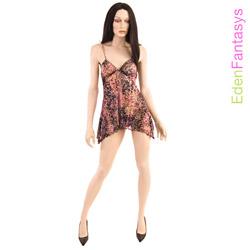 Babydoll And Panty Set - Shimmering leopard print babydoll set (S)