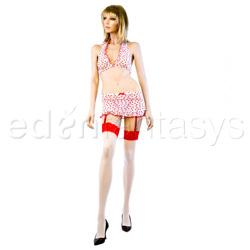 Bra, Panty, Gartered Skirt And Stockings Set - Flocked heart bra and skirt set (ML)