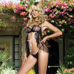 Babydoll And Panty Set - Lace up underwired babydoll set (L)