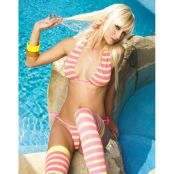 Bra, Panty And Stockings Set - Striped bikini set