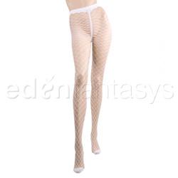 Sex pantyhose - Diamond net pantyhose (White)