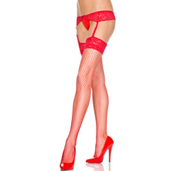 Garter belt with fishnet lace top thigh highs (Red)