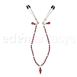 Nipple clamp - Single strand beaded clamps (Red)