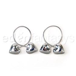 Nipple Jewelry - Silver heart loop nipple rings