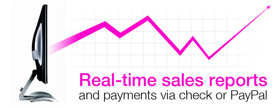 Real-time sales reports and payments via check or PayPal